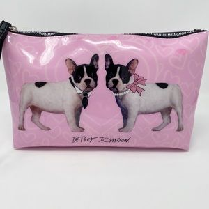 Betsey Johnson Frenchie Pink Patent Cosmetic Case